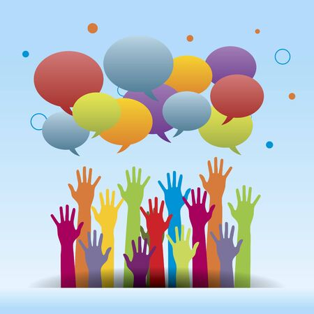 arms raised: Arms raised up and speech bubbles vector illustration Illustration