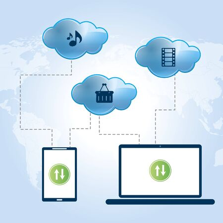 remote access: Laptop and tablet connected in served in the cloud sending and receiving data
