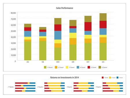dashboard: Report with graph of investment and financial return in the financial business in vector illustration