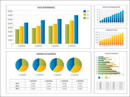 grafica de pastel: Informe con el gráfico de la inversión y el rendimiento financiero en el negocio financiero en la ilustración vectorial Vectores