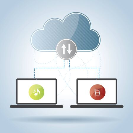 remote backup service: laptop sharing audio and video files in the cloud computers Illustration