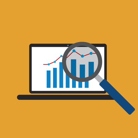 Graph growth trend from laptop screen in orange background Illustration