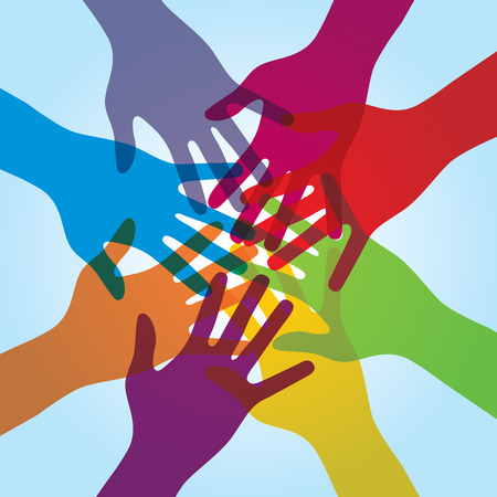 helps: Human arms around colorful and next. Concept of cooperation and helps volunteers and human diversity