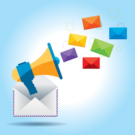 Megaphone and letter envelopes, communication through email marketing in the digital world
