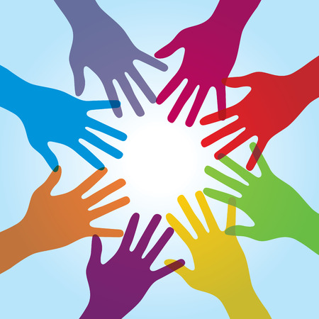 human arms: Human arms around colorful and next. Concept of copera��o and helps volunteers and human diversity
