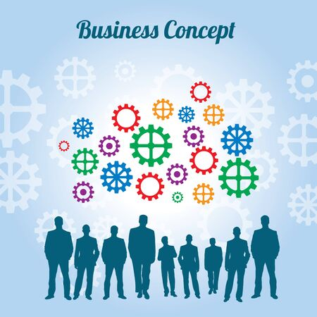 business gears: Business people and gears on blue background