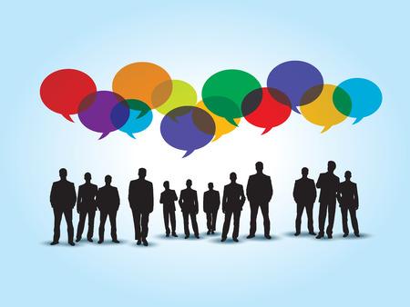personas hablando: Hombres de negocios en la comunicación y colorido discurso burbuja en fondo azul.