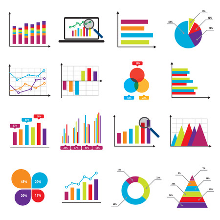 Business data market elements bar pie charts diagrams and graphs flat icons in vector illustration. Vettoriali