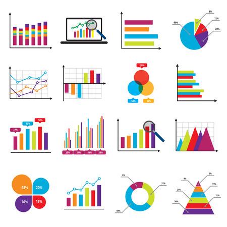 Elementos de mercado de datos de negocios gráficos circulares bar diagramas y gráficos de iconos planos en la ilustración vectorial.