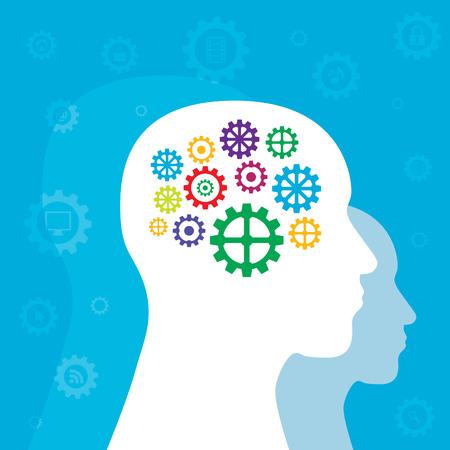 mental object: La cabeza con engranajes coloridos del cerebro en fondo azul. Vectores