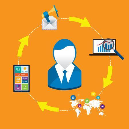 metrics: Businessman communication and technology in the modern world Illustration