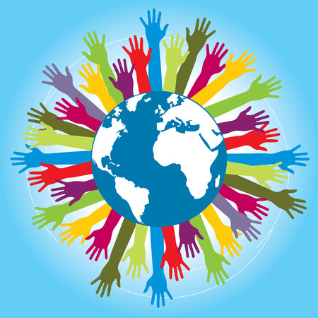 volunteers: Human arms colored around the globe with the world map. Concept of cooperation and helps volunteers and human diversity. Illustration