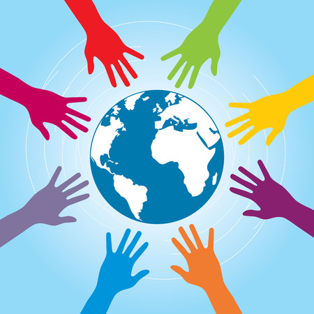 Human arms colored around the globe with the world map. Concept of cooperation and helps volunteers and human diversity. Vettoriali