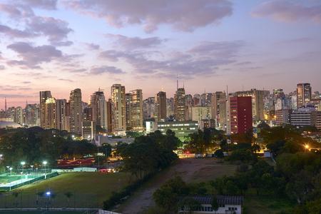city scene: Sao Paulo city at nightfall, Brazil. Ibirapuera Park