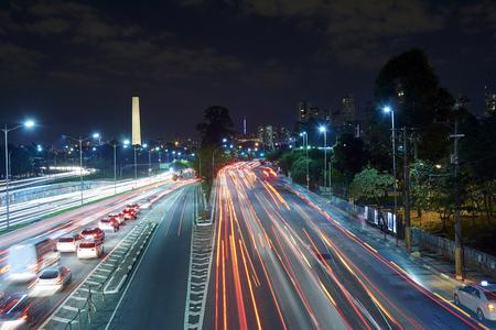 Sao Paulo city at night, Brazil, Ibirapuera Park.