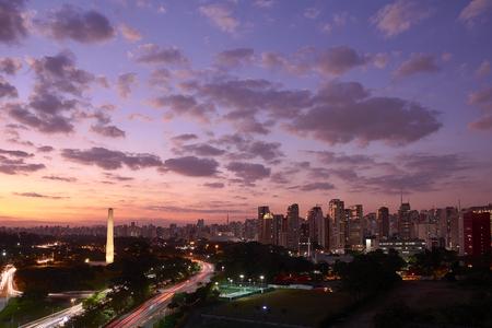 nightfall: Sao Paulo city at nightfall, Brazil. Ibirapuera Park