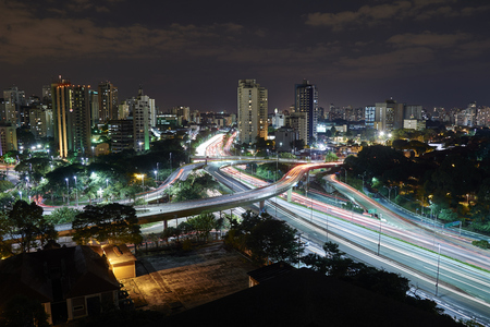 Sao Paulo city at night, Brazil.Avenue near the Ibirapuera Park