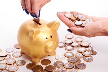 banco dinero: Womans hand putting coins of the Brazilian money into piggy bank in white bakcground. Foto de archivo