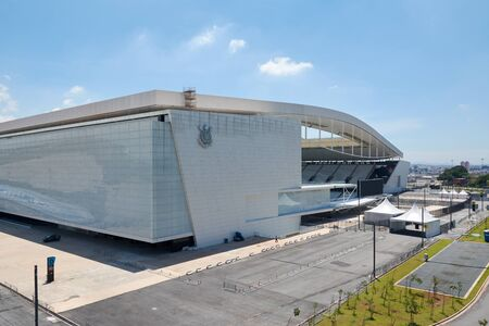engeneering: SAO PAULO, BRAZIL - FEV 19: Arena Corinthians in Itaquera on February 19, 2016. The Arena is new stadium of Sport Club Corinthians Paulista and was the Arena for the 2014 World Cup. Editorial