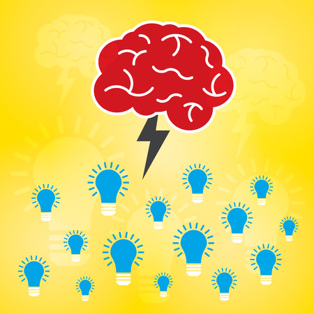 contemplate: Brainstorm is brain and lightning of power creative  business idea. Lamp for innovation and sucess Illustration