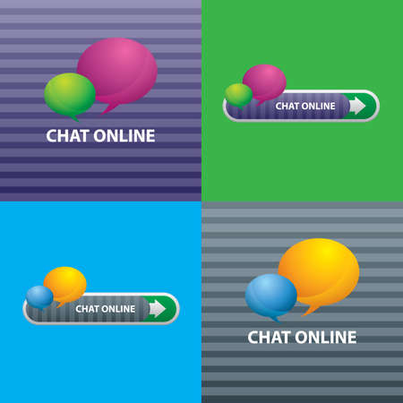 chat icons: button of chat online for communication internet, design of icons in illustration. Illustration