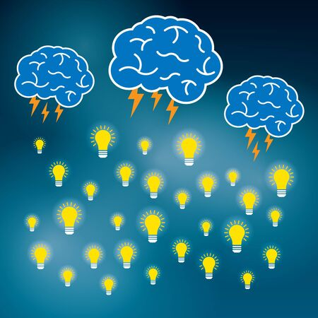 idea lamp: Brainstorm is brain and lightning of power creative  business idea. Lamp for innovation and sucess on illustration.