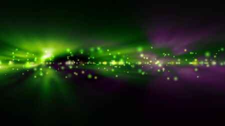green backgrounds: Futuristic abstract technology background with bright green and purple lights blurred Stock Photo