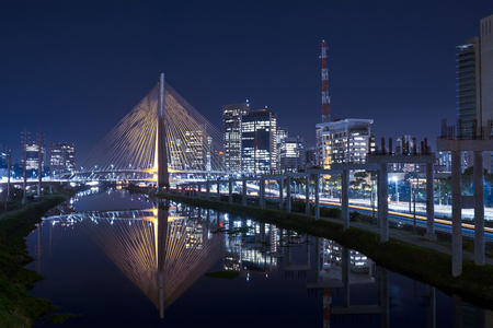 Cable Stayed Bridge Sao Paulo Brazil Night Stock Photo