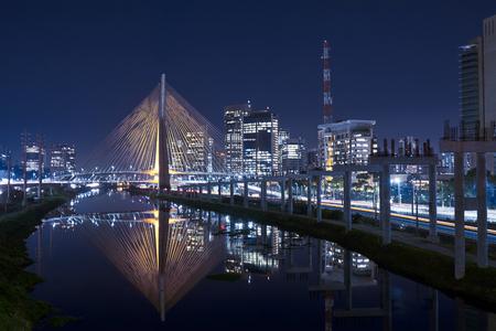Cable Stayed Bridge Sao Paulo Brazil Night Archivio Fotografico