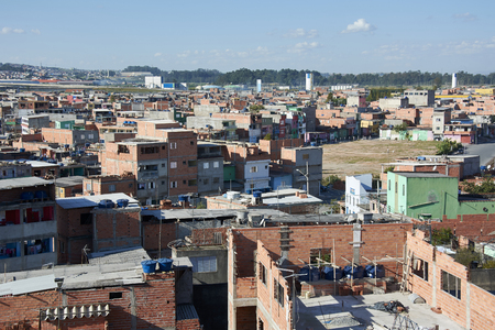 conglomeration: Slum in Sao Paulo. Illegal and fragile constructions, poverty in city.