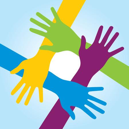 business help: Human arms around colorful and next. Concept of cooperation and helps volunteers and human diversity