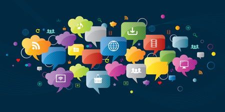 Thought bubble and communication in social media and internet business