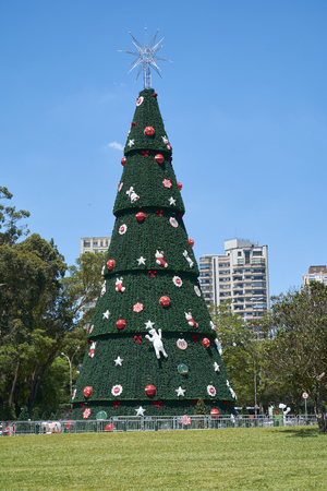 Sao Paulo, Brazil - December 6, 2016:Traditional Christmas tree in Ibirapuera, being the 15th year of the attraction in the south zone of the city of Sao Paulo. With 35 meters of height, 16 meters of diameter and a star of 8 meters in the top.