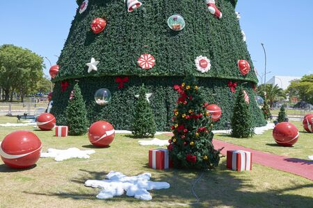 diameter: Sao Paulo, Brazil - December 6, 2016: Detail of traditional Christmas tree in Ibirapuera, being the 15th year of the attraction in the south zone of the city of Sao Paulo. With 35 meters of height, 16 meters of diameter and a star of 8 meters in the top. Editorial