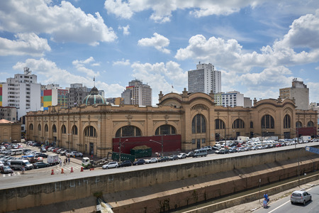 Sao Paulo, Brazil - March 21, 2016: Municipal Market (Mercado Municipal) in Sao Paulo. Its a huge and bustling market with local fruit, vegetable, spice or condiment.