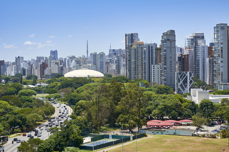 View of Ibirapuera Gymnasium and building of the city of Sao Paulo in sunny afternoon.