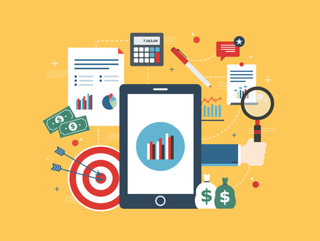 Flat design vector illustration concept of financial investment, analytics with growth report. Calculations and graphs of gains on the stock market and real cash earnings. Successful business. Illustration