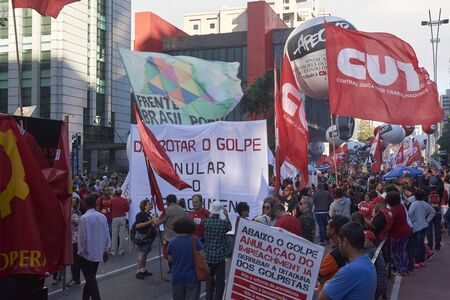 syndicate: Sao Paulo, Brazil - March 31, 2017: Protest of workers against President Michel Temer, against social security reform, against corruption and against the reduction of workers rights.