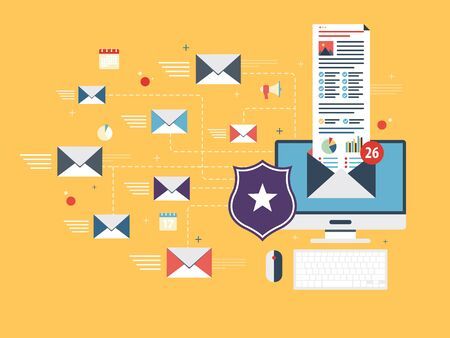 Computer with antivirus for protection, security and blocking of receiving spam by email. Spam blocker. Email protection and secure communication on internet. Flat vector illustration.