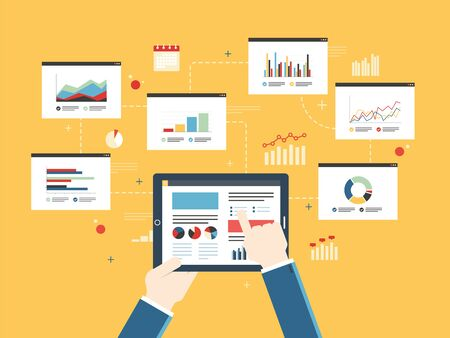 finance report: Flat design vector illustration concept of finance investment planning, analytics Information in the form of a graph or diagram with growth report on mobile device.  Successful business.