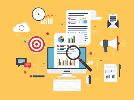 business concepts: Flat design concepts for business marketing, analytics and strategy in vector design.