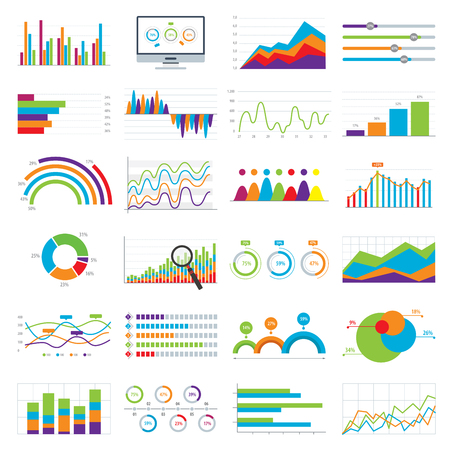 Business data market elements bar pie charts diagrams and graphs flat icons in vector illustration. Illustration