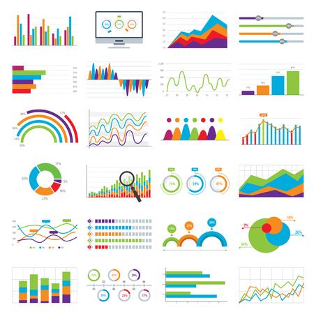 비즈니스 데이터 시장 요소 바 원형 차트 다이어그램 및 그래프 벡터 일러스트 레이 션의 플랫 아이콘. 일러스트