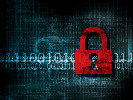 Vulnerable network security data. Background with program code protected by padlock. Illustration