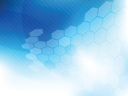 技術の背景は青色の六角形とデジタル ベクトルで未来的な抽象です。
