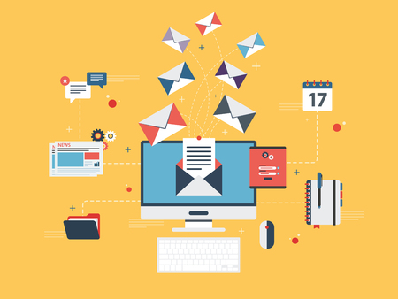 Communication strategy: Flat design concepts for send or receive email marketing, business communication and marketing, analytics and business strategy in vector design.