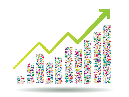 Groeikaart en vooruitgang die tot succes leiden. Groei grafiek met mensen iconen. Vector Illustratie