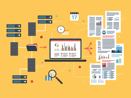 network server: Laptop accessing server files in network and extract information. Concepts data mining or business intelligence processing for decision making. Flat vector illustration.
