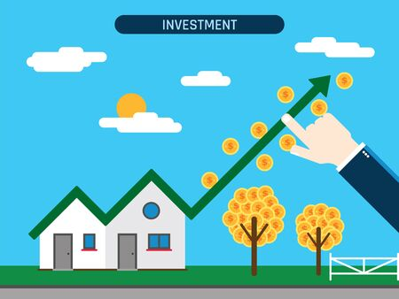 Property investment. House with growth chart and coins, hand showing investment success. Concept of business and innovative work.Flat vector illustration. Vektorové ilustrace
