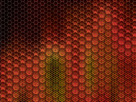 Rustic and worn metal background with large and small hexagons in vector illustration.